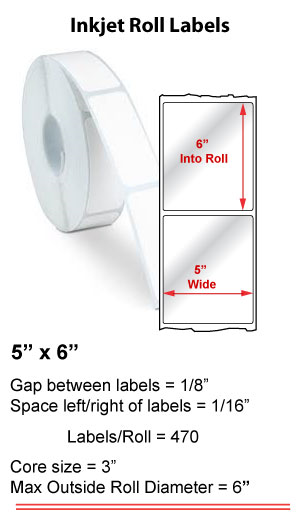 "5"" x 6"" INKJET ROLL LABELS Full Size Image #1"