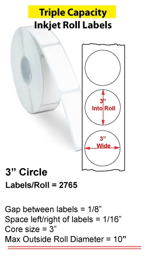 "3"" CIRCLE INKJET ROLL LABELS Full Size Image #1"