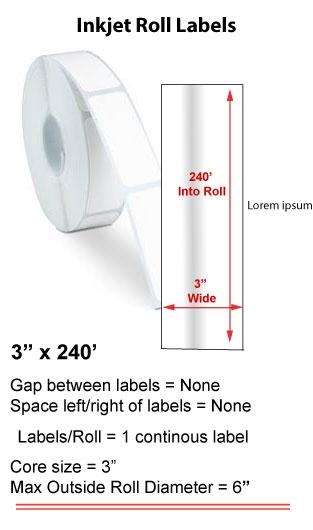 "3"" x 240' INKJET ROLL LABELS Full Size Image #1"