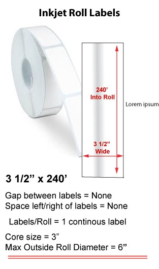 "3.5"" x 240' INKJET ROLL LABELS Full Size Image #1"