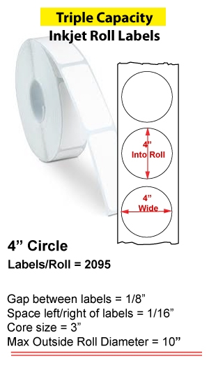 "4"" CIRCLE INKJET ROLL LABELS Full Size Image #1"