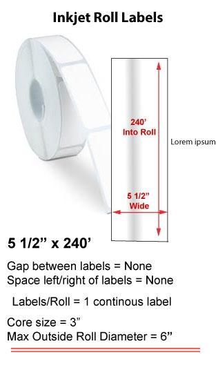 "5.5"" x 240' INKJET ROLL LABELS Full Size Image #1"