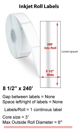 "8.5"" x 240' INKJET ROLL LABELS Full Size Image #1"