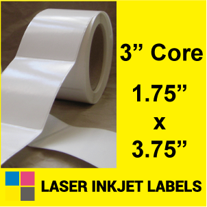 "1.75"" x 3.75"" INKJET ROLL LABELS Full Size Image #2"