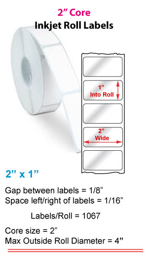 """2"""" x 1"""" ROLL LABELS FOR PRIMERA LX400 Full Size Image #1"""