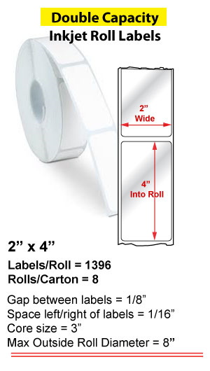 """2"""" x 4"""" INKJET DOUBLE CAPACITY ROLL LABELS Full Size Image #1"""