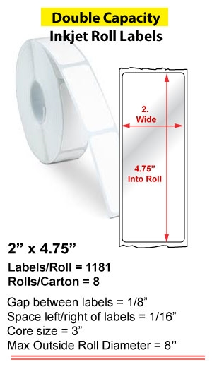 "2"" x 4.75"" INKJET DOUBLE CAPACITY ROLL LABELS Full Size Image #1"