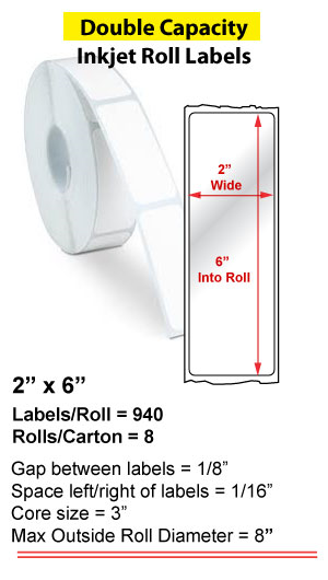 """2"""" x 6"""" INKJET DOUBLE CAPACITY ROLL LABELS Full Size Image #1"""