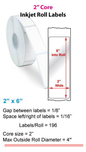 """2"""" x 6"""" ROLL LABELS FOR PRIMERA LX400 Full Size Image #1"""