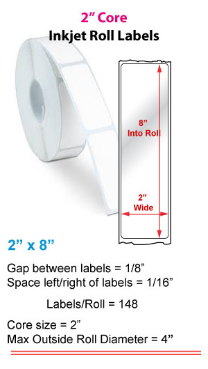 "2"" x 8"" ROLL LABELS FOR PRIMERA LX400 Full Size Image #1"