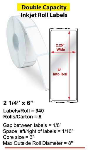 "2.25"" x 6"" INKJET DOUBLE CAPACITY ROLL LABELS Full Size Image #1"