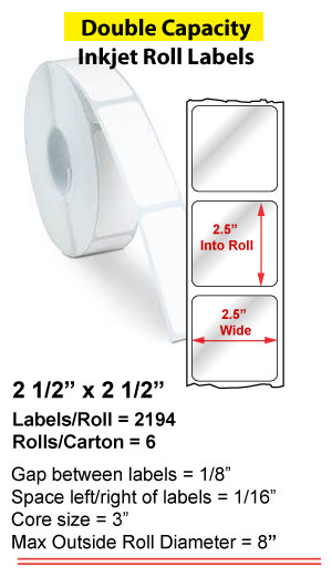 """2.5"""" x 2.5"""" INKJET DOUBLE CAPACITY ROLL LABELS Full Size Image #1"""