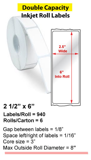 "2.5"" x 6"" INKJET DOUBLE CAPACITY ROLL LABELS Full Size Image #1"