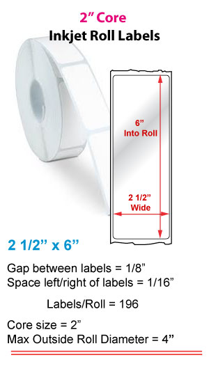 """2.5"""" x 6"""" ROLL LABELS FOR PRIMERA LX400 Full Size Image #1"""