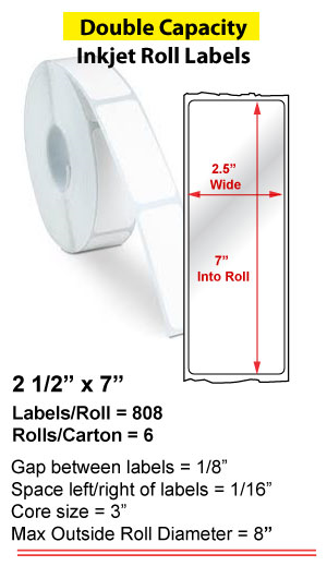"2.5"" x 7"" INKJET DOUBLE CAPACITY ROLL LABELS Full Size Image #1"