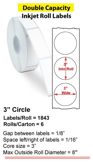 """3"""" CIRCLE INKJET DOUBLE CAPACITY ROLL LABELS Full Size Image #4"""