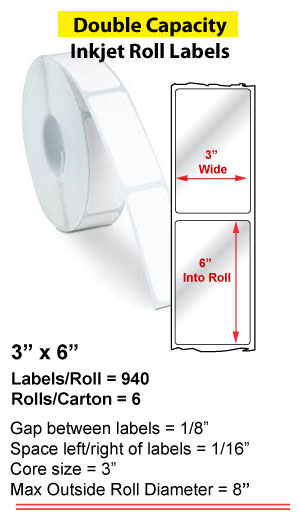 """3"""" x 6"""" INKJET DOUBLE CAPACITY ROLL LABELS Full Size Image #1"""
