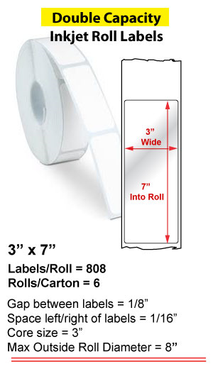 """3"""" x 7"""" INKJET DOUBLE CAPACITY ROLL LABELS Full Size Image #1"""