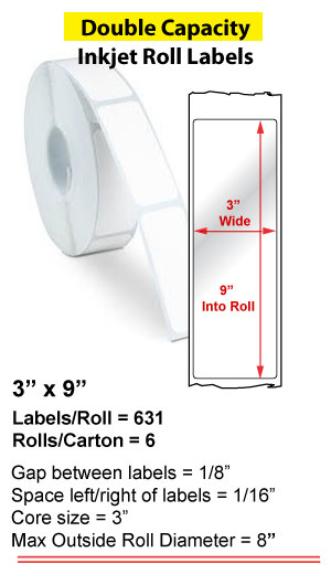"3"" x 9"" INKJET DOUBLE CAPACITY ROLL LABELS Full Size Image #1"