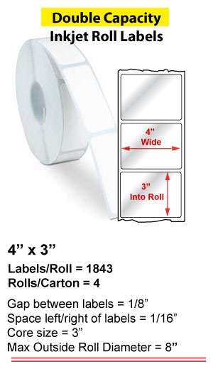 """4"""" x 3"""" INKJET DOUBLE CAPACITY ROLL LABELS Full Size Image #1"""