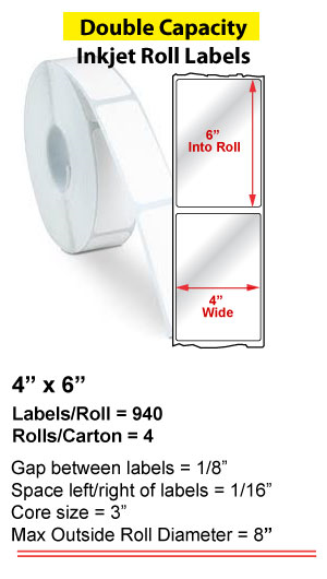 "4"" x 6"" INKJET DOUBLE CAPACITY ROLL LABELS Full Size Image #1"