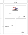 "3.75"" x 4.75"" RECTANGLE WHITE POLY LASER LABELS Thumbnail #2"