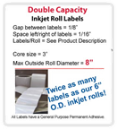 "1.5"" x 3.75"" INKJET DOUBLE CAPACITY ROLL LABELS Thumbnail #2"
