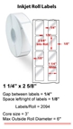 "1.25"" x 2.625"" 2 UP INKJET ROLL LABELS Thumbnail #1"